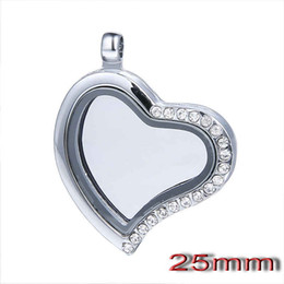 Wholesale Slide Scarf Accessories - heart crystal Floating Charm Locket pendant Silver 25mm zinc alloy Glass Memory diy Pendant jewelry scarf accessories F02 12pcs lot