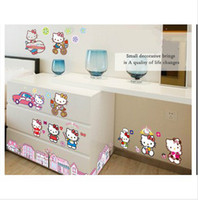 Wholesale 2014 NEW HOT Cartoon Wall Stickers children room bedroom girl Whole KT cat hello Kitty stickers baby small gifts