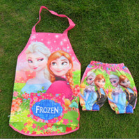 Wholesale Hot Sell Frozen Elsa Anna Kids Flowers Apron With Oversleeve Snow Queen Children Girls Cooking Pinafore Good Quality Kitchen Aprons K0800