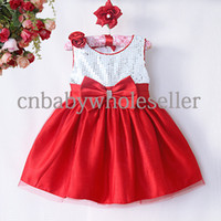 Wholesale Baby Girls Party Dresses White Top With Sequins And Red Hem Kids Wedding Dresses Girls Christmas Dresses GD40814