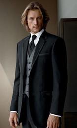 Wholesale 2014 Stylish Black Men s Suits Best Man Suit Groom Tuxedos Jacket Pants Vest Tie