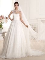 Wholesale Best Designer Warm White A Line Wedding Dress Capped One Shoulder With Applique Dissymmetry Beauty Wedding dresses Lace Skirt Applique HL496