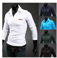Cheap 2014 Hot sale polo shirt ralph men Lapel pocket leather standard design 5 color slim fit high quality shirt pure cotton shirt