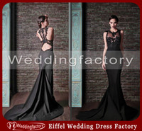fashion in turkey - 2014 New Pattern Evening Dress in Turkey Mermaid Jewel Neck Sheer See Through Bodice Court Train Formal Pageant Gowns Black Lace Appliques