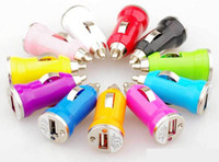 Wholesale Hot Universal Bullet Mini USB Car Charger Universal Adapter for iphone S S C G S Galaxy S3 S4 S5 HTC LG Cell Phone PDA MP4