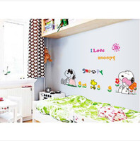 Wholesale Cartoon snoopy Home sticker Wall paper decor Decals Art Vinyl Murals Bedroom Parlor Wall Stickers home decor