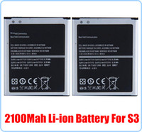 Cheap High Quality 3.7V 2100mah mobile phone replacement li-ion battery for Samsung GT i9300 galaxy S3 SIII i9300 EB-L1G6LLU 100pcs DHL FEDEX UPS