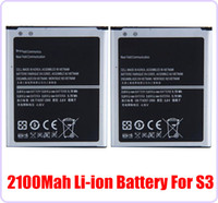 Wholesale 500pcs V mah mobile phone replacement li ion battery for Samsung GT i9300 galaxy S3 SIII i9300 EB L1G6LLU High Quality Hot selling