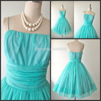 Cheap 2015 New Design Spaghetti Strap Vintage Aqua Blue Chiffon Cocktail Party Prom Dress