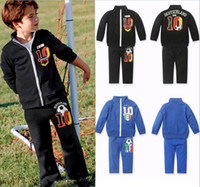 Wholesale two designs Two Piece sport Baby Boy Property of Football Jogging Suit long sleeve TopB35 sets