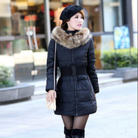 fur collar - HOT SALE New Fashion Korean Big Fur Collar Warm Women Trench Fur Down Coat Winter Coat Long Jacket Plus Size Belt Coats