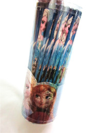 Wholesale Frozen Children HB cm Black Wooden Pencil Kids Cartoon Elsa Anna Painting Writing Drawing Suppliers Childs Gifts Blue box K0803