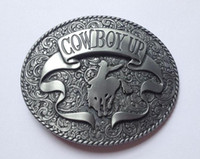 Wholesale WESTERN BELT BUCKLE Cowboy Up with rodeo boots oval belt buckle SW B30 brand new belt buc