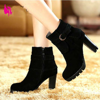 Wholesale Hot Sale Europe and Autumn Style women s shoes genuine leather martin boots fashion thick heel high heeled medium leg boots
