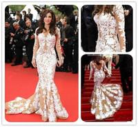 Graceful White Long Dresses Large Area of Lace Mermaid Weddi...
