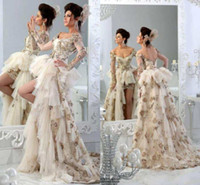 Wholesale 2014 New Arrival Sexy Wedding Dresses With Deep V Neck Illusion Long Sleeves Tiered Appliques Tulle Hi Lo Corset Backless Bridal Gowns