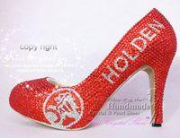 Wholesale Handmade Shoes Fashion Crystal Women Shoes HLDEN LOGO design Brand Shoes medium heel inch