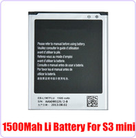 Wholesale Best Quality V mAh Replacement Battery for Samsung Galaxy S3 mini I8190 i699 i8160 S7562 Free DHL Factory Sale