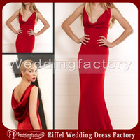 Wholesale 2014 Sexy Cowl Neck Evening Dress Red Sheath Sleeveless Cowl Back Floor Length Pageant Gowns