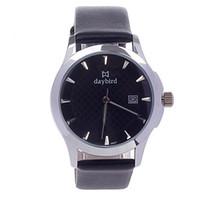 Wholesale Thin stainles steel watch fashion PU Leather Simple Calendar Analog Quartz Men s Wrist Watch Black Silver