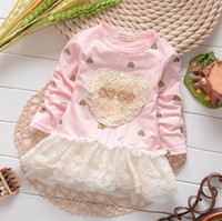 Wholesale Hot selling autumn baby long sleeve dress infant lovely dresses pink heart girls dress korean style princess dress WD321