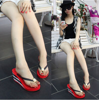 Cheap Star Same Style Lady Women And Big Girl's Slope With High-heeled Sandals And Slippers Flip Flop,Fashion Summer Beach Wear Shoes
