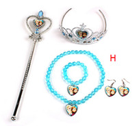 Wholesale Frozen Sets Imperial Crown Magic Wand Necklace Bracelet Earrings Elsa Anna Cartoon Sets Kids Children Holiday Gift fn3