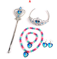 Wholesale Frozen Jewelry Set Sets Frozen Anna Elsa Girls Imperial Crown Magic Wand Necklace Bracelet Earrings Elsa Anna Cartoon Sets fn