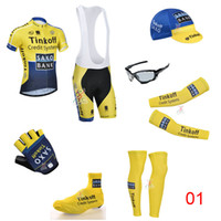 Wholesale Tinkoff Saxo Team Cycling Jersey Short Sleeve yellow and blue Bike Wear Cycling Gloves Caps Brand Sunglasses Arm and Leg Warmer Shoes Cover