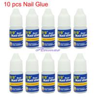 Cheap Wholesale-OP-Free Shipping 10 Pcs 3g GLUE ACRYLIC UV GEL FALSE Full French NAIL ART TIPS Decoration Tools,