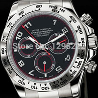 Cheap alibaba express Men's 2012 osmograph Daytona White Gold on Bracelet w Rare Black & Red Dial 116509 box Automatic top brand