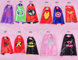 Wholesale 14 Styles cm Superhero Kids Superman Cape Superman Batman Spiderman Supergirl Batgirl Robin kids Christmas Halloween cape