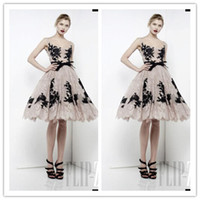 Cheap 2014 New Zuhair Murad Cocktail Dresses Sleeveless Black Beads Scoop Lace Bow Ruffle Backless Short Prom Celebrity Evening Dresses Hot Sale