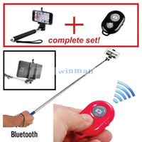 Cheap 50 lots Z07-1 Handheld Monopod selfie stick + Bluetooth Remote Shutter + Phone Clip Holder for IOS Iphone Android SAMSUNG Cell Phone