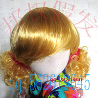 Wholesale Cosplay wig Blonde Model Performances Props Child Halloween Party Cheap Curly Doll Anime wigs for kids A288