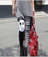 Cheap FREE SHIPPING+Wholesale SED-009 Lady's Punk Gothic Pirate Skull Striped Skinny Leggings 2012 Women Best Sale