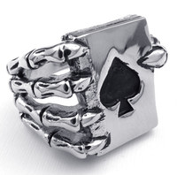 american requirements - No MOQ Requirement Great Mens Jewelry Gothic Skull Finger Rings grasping a Ace of spades Poker Card for Men who like playing cards