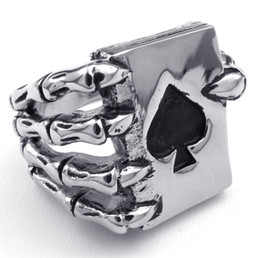 Wholesale No MOQ Requirement Great Mens Jewelry Gothic Skull Finger Rings grasping a Ace of spades Poker Card for Men who like playing cards