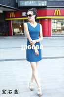 Wholesale 2014 new spring dress top factory direct authentic Korean version of Slim sleeveless vest skirt dress