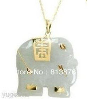 Cheap Asian NATURAL White Jade Elephant Pendant Necklace