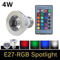 Wholesale RGB LED lamps Color Changable bulb E27 W Spotlight AC V V V V for Home Party Decoration light with IR Remote
