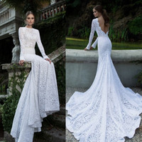 Cheap Berta Best Selling Lace Backless Mermaid Wedding Dresses Long Sleeve Gorgeous Garden Bridal Party Gowns 2014 Custom Top Quality