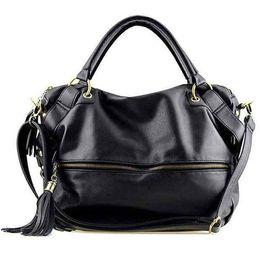 Wholesale Women messenger bags Bolsas femininas Fashion female shoulder handbags big black coffee tassel artificial leather bag