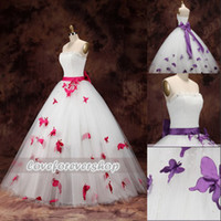 Wholesale 2014 Wedding Dresses Strapless Draped Beaded Crystals Pearls Neckline Floor Length Bow Sash Stereoscopic Approach Butterfly Wedding Gowns