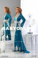 Cheap 2014 Blue Mother of the Bride Dresses Arabic Kaftan Runway Evening Dresses Long Sleeves Applique Chiffon Abaya Dubai Evening Gowns