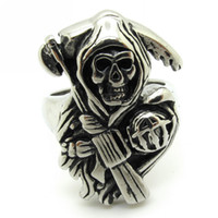 Wholesale Gothic Men s Sons of Anarchy L Stainless Steel Punk Biker Finger Ring Jewelry Gift Price