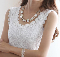 quality white shirts - 2014 new Summer blouse Fashion Top Lace Casual Sleeveless Plus Size Shirts For Women Brand Quality Black White Halter Top