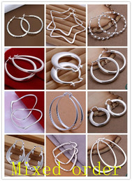 Wholesale New arrival Pairs Mixed Order Fashion Vogue Round Oval Dangle Hoop Ring Sterling Silver Plated Drop Earrings Multi Styles