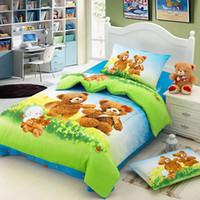 Cheap B317 Wholesale Free Shipping 100% cotton children 3 pcs or 4 pcs bedding set bedsheet + duvet cover + pillowcase home textile bed clothes
