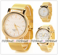 Wholesale 100pcs fashion women Crystal Rhinestone casual Quartz analog wrist watches Gold stainless Steel mesh style for Watch Band Big Round Dial